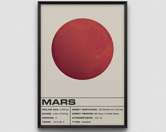 Mars Light Art Print Poster Planet Space Solar System Planets Infographic Galaxy
