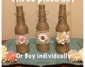 Floral Twine Bottles, Twine Bottles, Home Decor Bottles, Wedding Decor Bottles, Rustic Chic