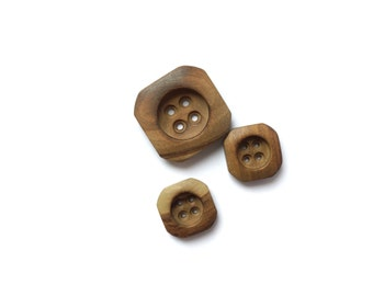 3 Assorted Wooden Vintage Square Buttons, Brown, Wood