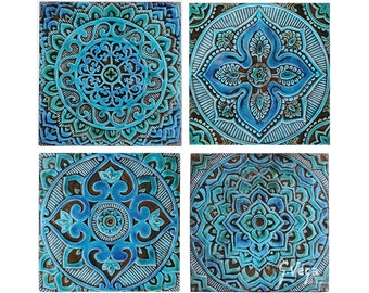 Ceramic tiles with Mandala tiles, Decorative tiles, Wall tiles, Bathroom tiles, Ceramic wall art, Set of 4 ceramic tiles, Turquoise 30cm