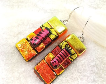 Dichroic glass earrings, dichroic jewelry, fused glass art, dichroic glass beads, jewelry handmade, Hana Sakura Designs, Statement earrings