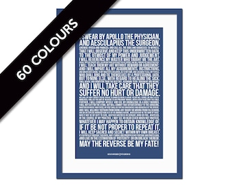 The Hippocratic Oath - Art Print - Hippocrates Medical Quote Poster - Gift for Doctor - Medical Student Gift - Typography - Graduation Gift