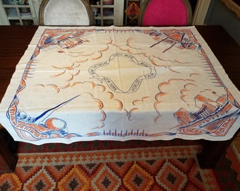 Vintage 1930's Unused World's Fair Souvenir Orange Blue and White Table Cloth Very Clean Condition