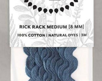 Naturally Dyed 8mm Rick Rack-Indigo