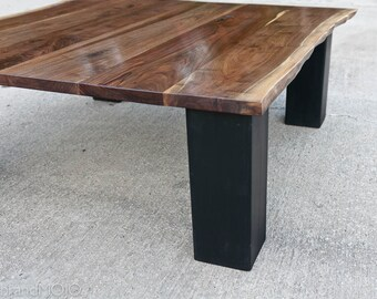 Live Edge Walnut and Steel Coffee Table Natural Edge Coffee Table Nakashima Style Rustic Table With Steel Live Edge And Industrial Base