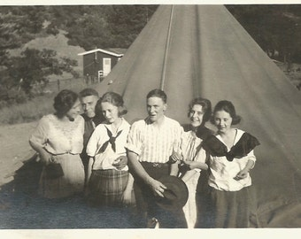 """Vintage Photo """"Happy Campers"""" Tent Camping Box Camera Pretty Girls Silver Gelatin Print Family Found Vernacular Photo"""