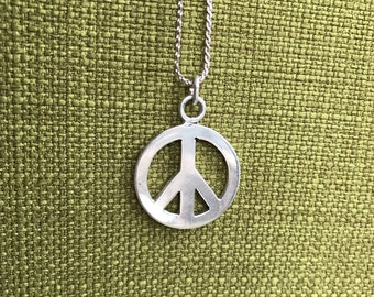 Sterling Silver Peace Symbol Chain Necklace 28""