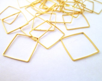 10 Gold Plated 20mm Square Connectors, Gold Square Linking Charm Pendants, F214