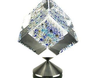 Waterdance - 2005 Cube by USA Artist Jon Kuhn - Coldworked Borosilicate Glass Crystal Sculpture - Contemporary Geometric Visual Fine Art