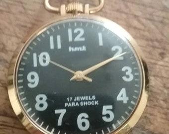 HMT MENS 17 jewels para shock pocket watch