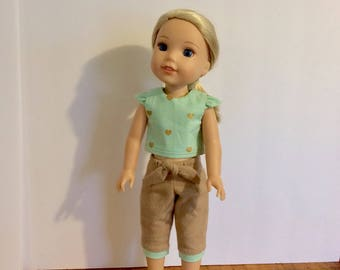 """Wellie Wisher outfit. Top and Capri pants. Mint with gold hearts and tan bottoms. 14.5"""" doll clothes."""