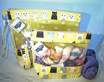 Cats, Knitting Project Bag, Zippered Project Bag, Knitting Wedge Bag, Yarn Tote Bag, Yarn Bag, Knitting bag,