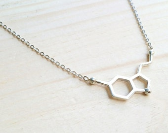 Silver Serotonin Molecule Necklace, Chemistry Necklace, Molecule Happiness Sign necklace, Serotonin Molecule Necklace, Chemistry Necklace