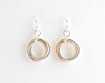Tri-Metal Sterling, 14k Gold Fill, & Copper Infinity Love Knot Chainmaille Earrings Mobius Chain maille