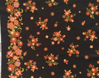 SALE : Lecien Folklore Floral Border print black FQ or more