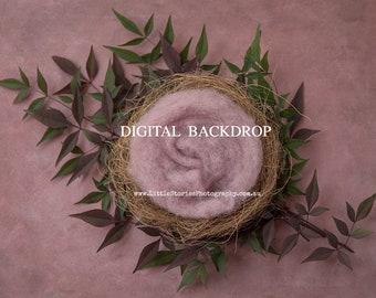 Digital Backdrop newborn girl pink nest Background floral leaves wreath newborn Photography prop download High Res jpg file#82