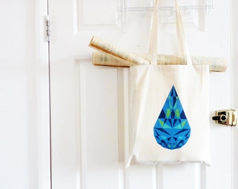 Canvas Bag Geometric/ Tote Bag/ Blue Cotton Bag/ Topaz Diamond/ Summer Bag/ Fabric bag/ Blue Tote/ Teardrop Diamond