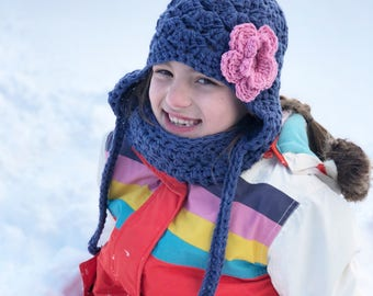 girls winter hat, baby girl hat, Baby hat, kids hat, girls hat, navy winter hat, girls blue hat, little girls hat, winter hat, blue hat
