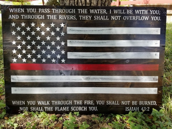 UNFRAMED Firefighters Sign with Isaiah 43:2