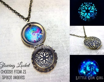 Glow in the Dark Galaxy Necklace - 23 Images - Glowing Space Locket in Antique Bronze or Silver - Nebula Stars Sci Fi Glow Jewelry