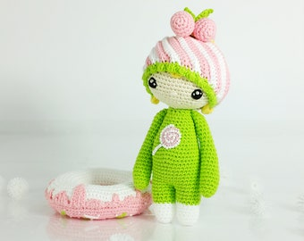 Candy.  Amigurumi crochet doll. Handmade doll with clothes. Soft doll. Textile doll. Collectable doll