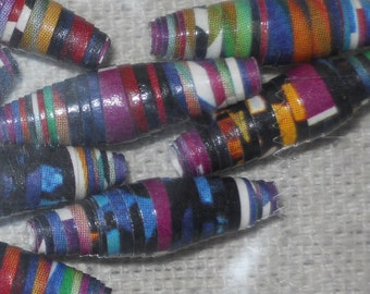 Rolled Paper Beads Purple and Multicolor Lot of 15