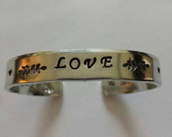 LOVE ~ Hand Stamped Personalized Custom Name Initials Gotcha Day Quote hammered Aluminum Cuff Bracelet