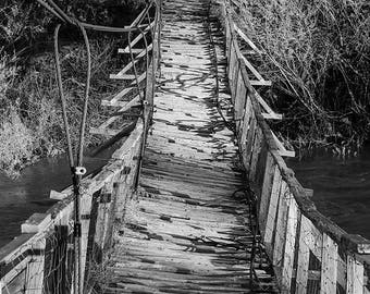 Sheep Bridge, Black and White Photo of Swinging Bridge, Symmetrical Art, Fine Art Black and White, Gift for Dad,  Bridge Photo Print