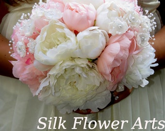 Very Cute  Wedding Bridal Bouquet Silk Flowers Peony Pink and Ivory Peony