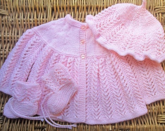 Newborn baby's infant girl traditional handknitted pale pink lacy lace matinee jacket and cap / hat with booties pram outfit set