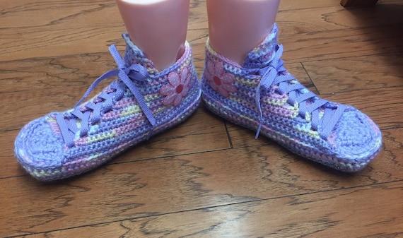 slippers 237 crocheted slippers sneaker 9 slippers shoes sneakers purple Womens 7 flower Crocheted tennis shoe sneakers house flower pink tUPWfq