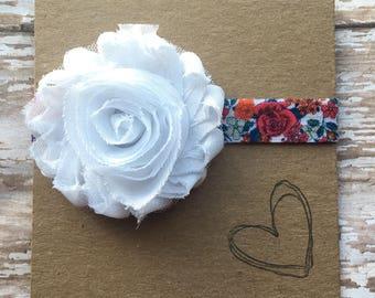 Rose Flower Shabby Headband, Baby Headband