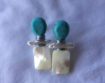 Turquoise + Freshwater Pearl + Mother of Pearl Earrings