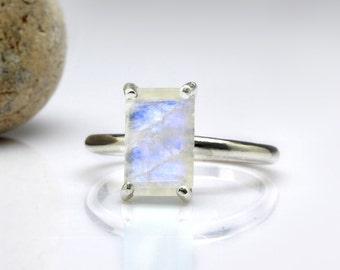Rainbow Moonstone ring,stackable ring,silver ring,stack ring,rectangle stone ring,gemstone ring,bridal ring,stacking ring