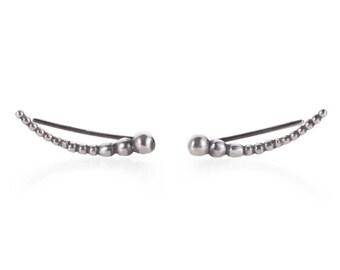 Silver Climber Earrings - Serling Silver Ear Climber Earrings - 925 Silver Earrings - Unique Silver Climber Earrings - Minimalist Earrings