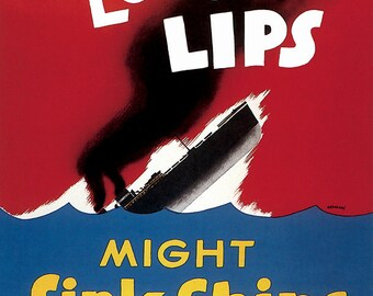 "War 16"" X 20""  Loose Lips Might Sink Ships Patriotic American War Vintage Poster Repro FREE S/H in USA"