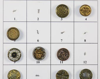 "Antique Metal Buttons - 1/2"" to 9/16"" in size - Board 1"