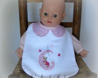 Pink and white honeycomb and embroidered bib