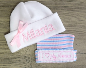 Custom Personalized Micro Preemie Hat with Bonus I Love My Nurses Hat, Mailed Priority, Monogrammed, Embroidered Preemie, Micro Preemie