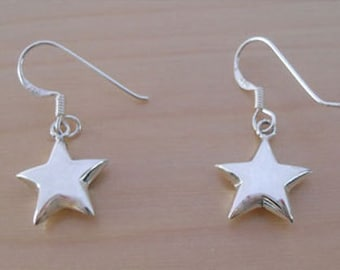 925 Sterling Silver Drop Dangle Puffed Polished Star Earrings