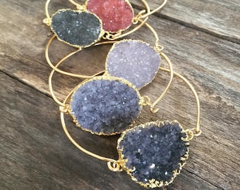 Druzy Bracelet, Druzy Bangle Bracelet, Gemstone Bangle Bracelet, Gemstone Bracelet
