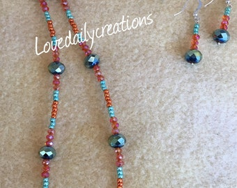Fused glass necklace earring set
