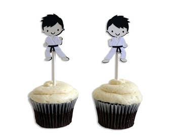 12 Karate / Ninja Themed Happy Birthday Cupcake Toppers, Karate / Ninja Birthday Party