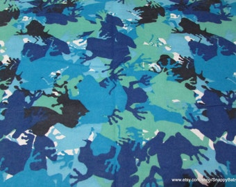 Flannel Fabric - Frog Camo - By the yard - 100% Cotton Flannel