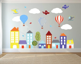 City Wall Decals Etsy - Vinyl wall decals kids