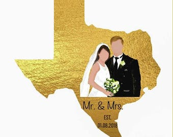 Mr. & Mrs Custom Wedding Gift for Couple, Best Anniversary Gift, Gift for Wife, Gift for Husband, Custom Portrait Map Quote, Art Print Card