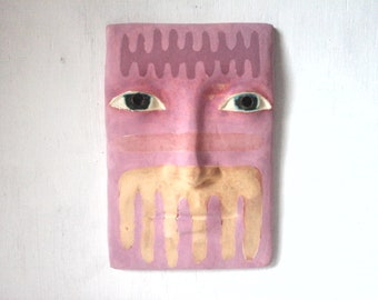Female wall mask, sculpture wall art, ceramic wall art, female face decor, abstract wall sculpture head from Louise Fulton Studio