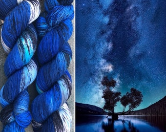 Night Sky BFL, indie dyed bluefaced leicester nylon sock yarn