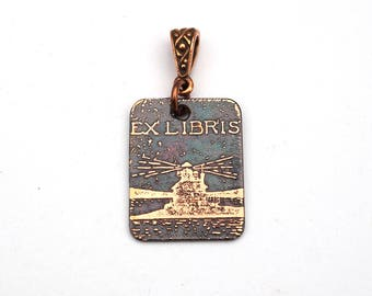 Lighthouse pendant, small rectangular flat copper bookplate ex libris jewelry, etched metal, optional necklace, 25mm