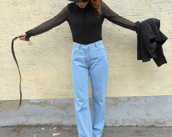 Vintage High Waisted Jeans / Straight Cut / Mom Jeans / Casual / Retro / Boho / High Rise / Hippie / Hipster / Denim Pants / Boyfriend Jeans